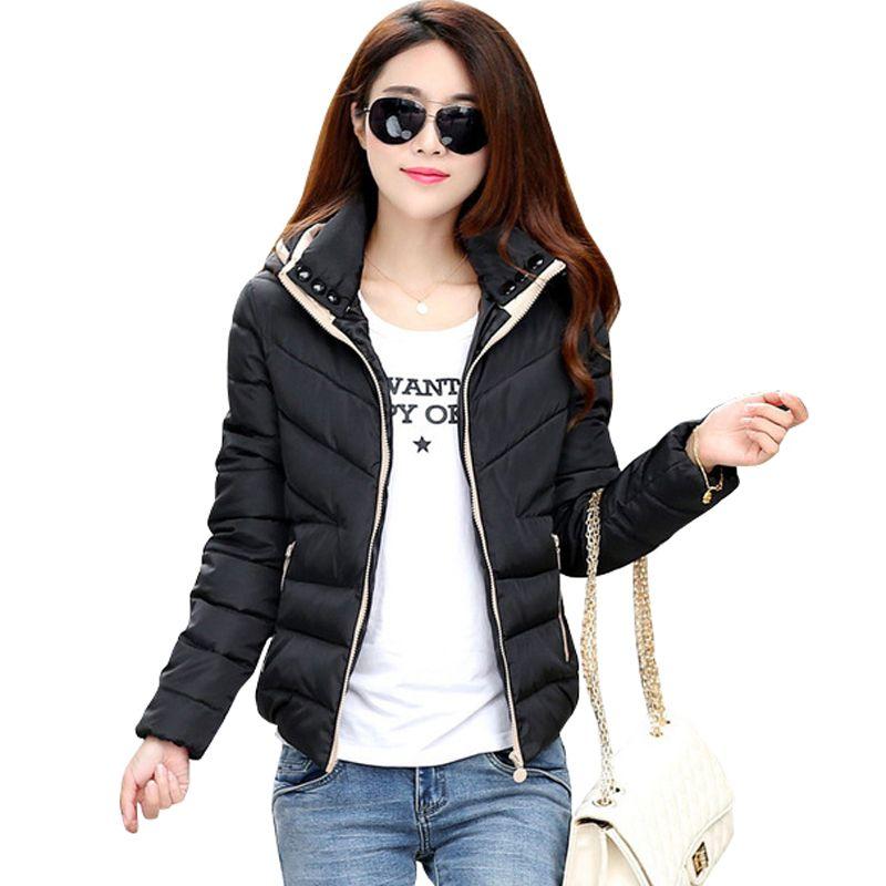2019 New Parkas Jacket Women Autumn Winter Short Coats Solid Hooded Cotton <font><b>Padded</b></font> Warm Pockets Female Jacket women's Coats