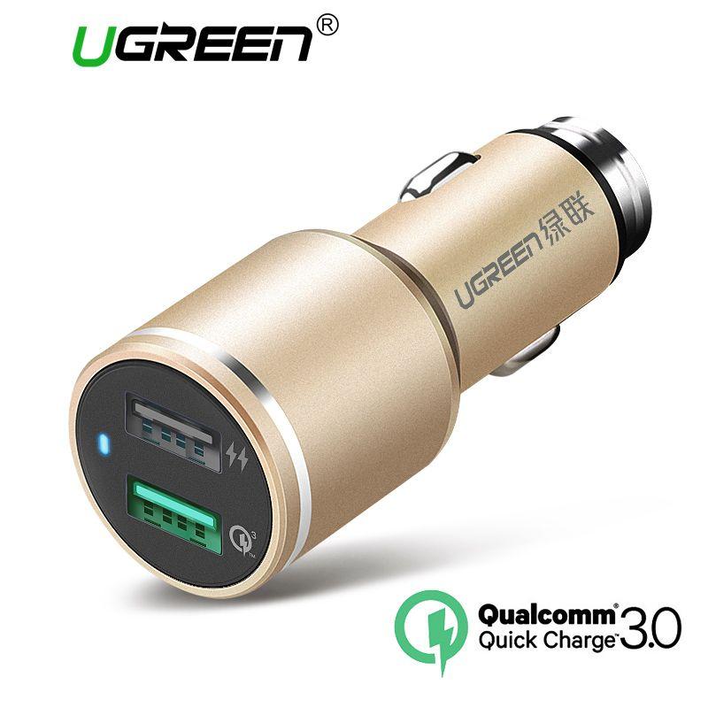 Ugreen 2.8A Auto-ladegerät 2 Port 18 Watt Quick Charge 3,0 auto-Ladegerät Schnell Auto Usb-ladegerät für Samsung Huawei HTC Tablet Ladegerät