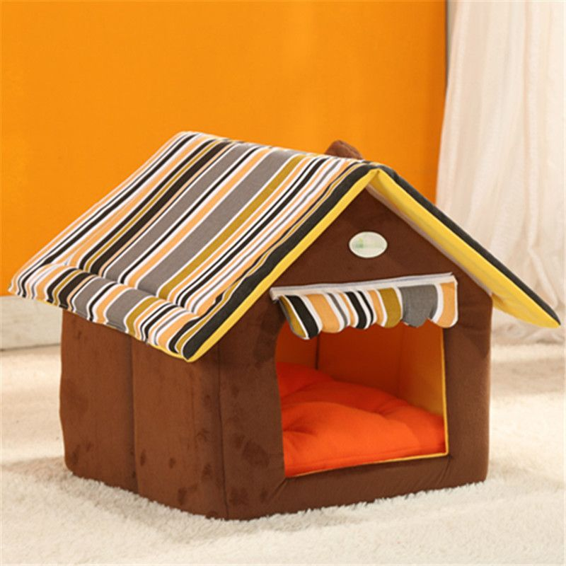 Fashion Removable Washable Dog House Winter Warm Soft Home Shape Dog Bed With Cushion For Small Medium Dogs Kennel Nest Dog Cat