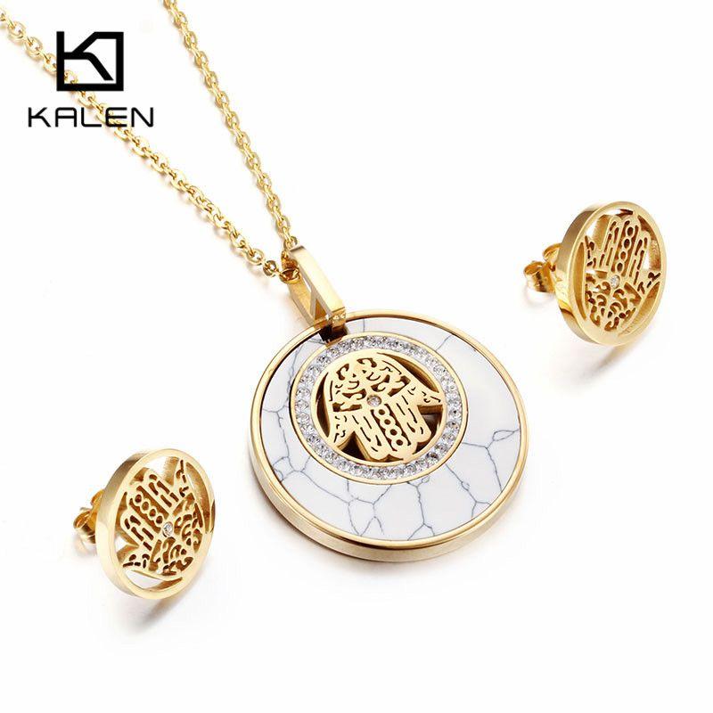 Kalen femmes chanceux ensemble de bijoux & acier inoxydable bulgarie couleur or Fatima Hamsa main pendentif collier & boucles d'oreilles ensemble