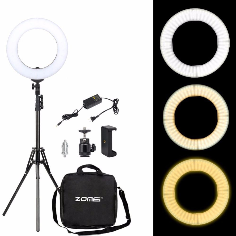 Zomei Dimmable Ring Selfie Light 3200-5500K LED Photographic Lighting Camera Lamp with Stand Adapter For Makeup Smartphone Video