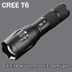 xm-t6 LED Flashlight 8200lumen zoomable led torch for 18650/AAA black Waterproof linterna led flashlights for Camping ZK95