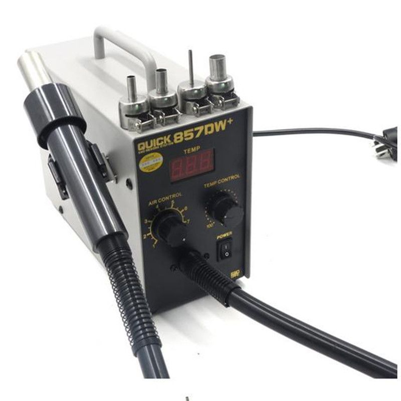 QUICK 857DW+ Lead Free Adjustable Hot Air Heat Gun With Helical Wind 580W SMD Rework Station With 4 Air Nozzles