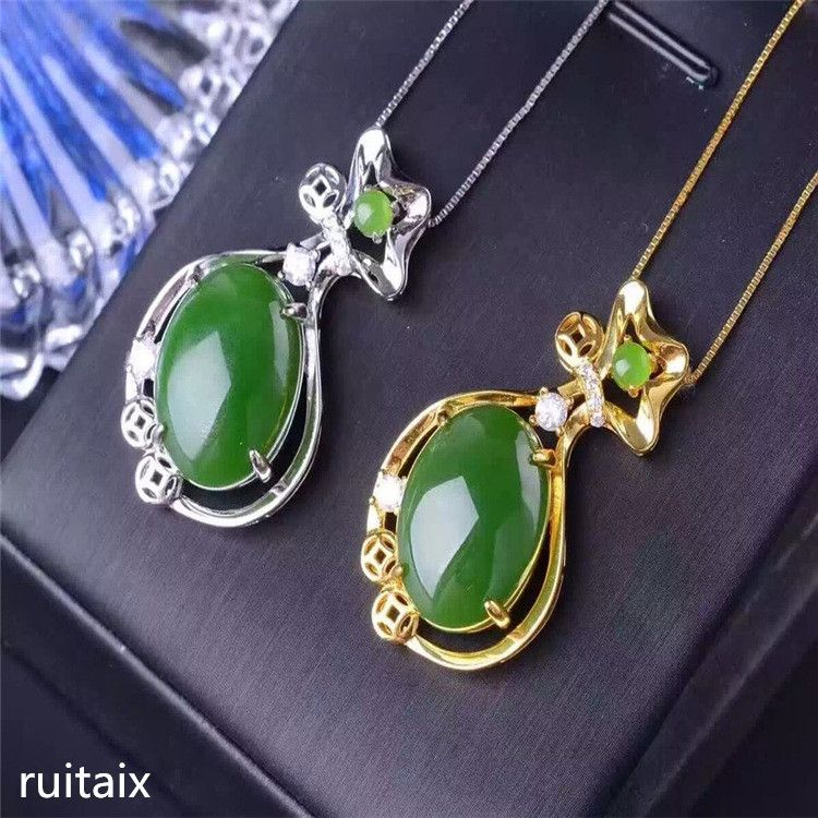 KJJEAXCMY boutique jewels S925 Pure silver inlay natural jade lady pendant + necklace money bag jewelry plant leaves