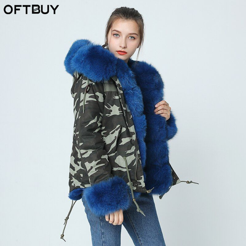OFTBUY 2019 neue kurze Camouflage winter jacke frauen outwear dicke parkas natürliche echt fox pelz kragen mantel mit kapuze pelliccia