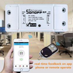Sonoff WiFi inalámbrico interruptor universal Casas inteligentes Módulo de automatización temporizador interruptor DIY control remoto vía ios android 10a/2200 W