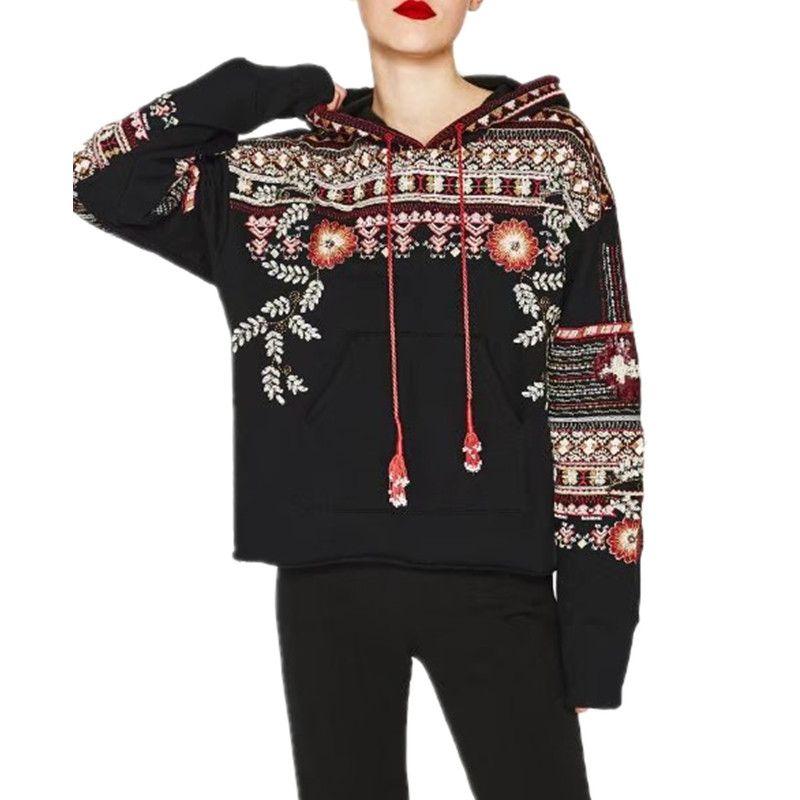 2017 Women Black Heavy Embroidery Sequins Hoodies Streetwear Hoody Loose Moletom Survetement Sweatshirt Women