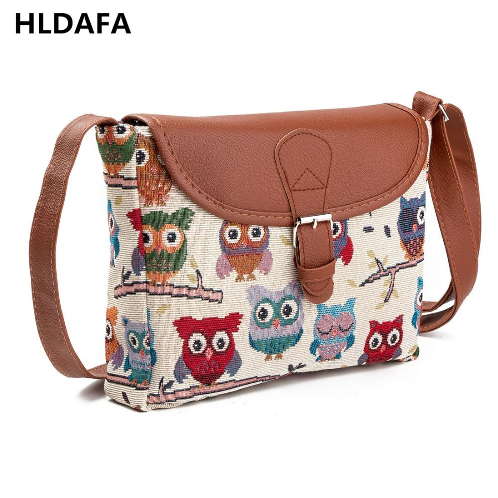 2018 Women Messenger Bags Canvas Owl Animal Printed Crossbody Shoulder Bag Small Ladies Handbags Flap Bag For Girls High Quality