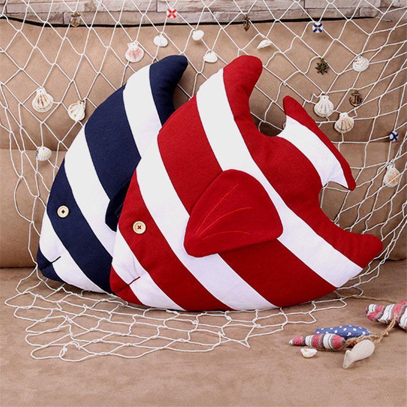 Nouveau Style marin poisson coussin décoratif 3D oreiller avec intérieur décor à la maison canapé lit de voiture jouets émulationnels comme cadeau pour enfants