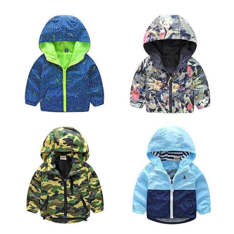 2018 nuevas llegadas primavera niños camuflaje hooded Chaquetas para niño Niñas Outwear ropa niños manga larga windbreaker cmb319