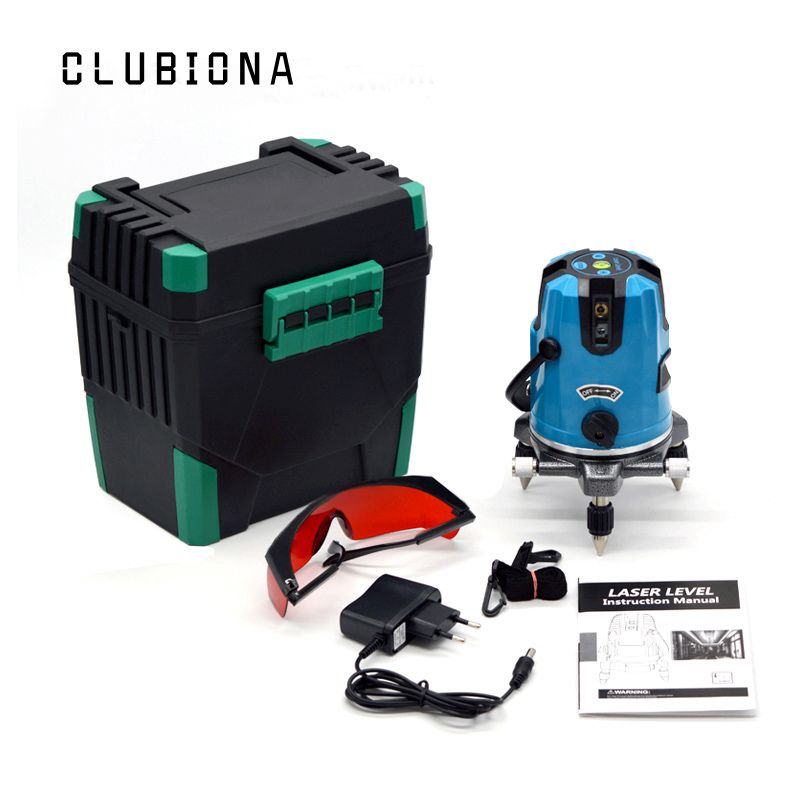 CLUBIONA 5 laser lines 6 points 360 <font><b>degrees</b></font> rotary 635nm outdoor mode - receiver and tilt slash available auto line laser level
