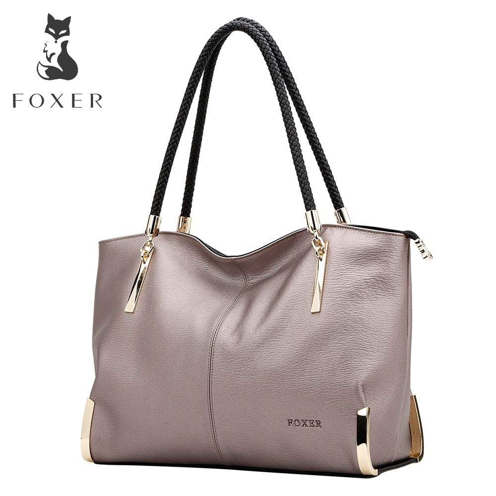 FOXER Brand <font><b>Women's</b></font> Cow Leather Handbags Female Shoulder bag designer Luxury Lady Tote Large Capacity Zipper Handbag for <font><b>Women</b></font>
