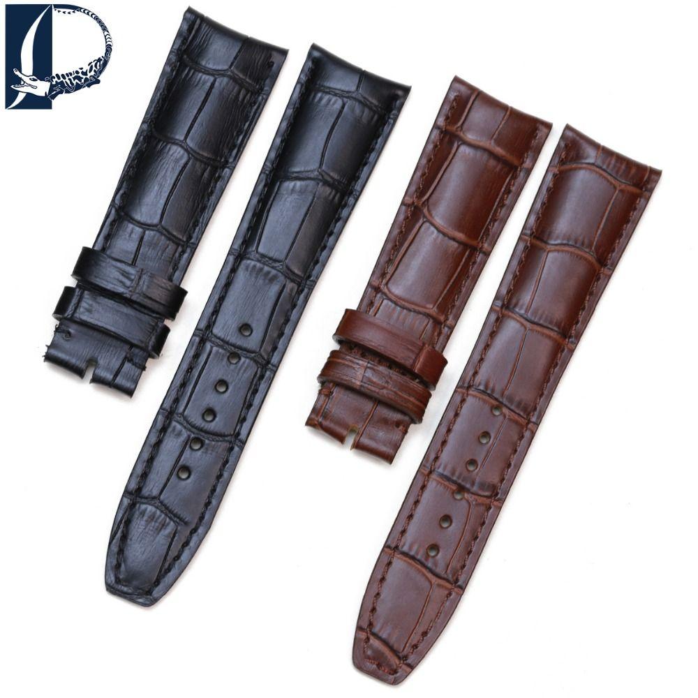 Pesno Alligator Grain peau de veau en cuir véritable montre-bracelet bande montre 20mm bracelet 21mm montre pour hommes pour Baume & Mercie