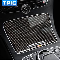 Pemegang Cangkir Air Panel Penutup Trim Interior Serat karbon Mobil Stiker Untuk Mercedes C Class C180 C200 W205 GLC Aksesoris