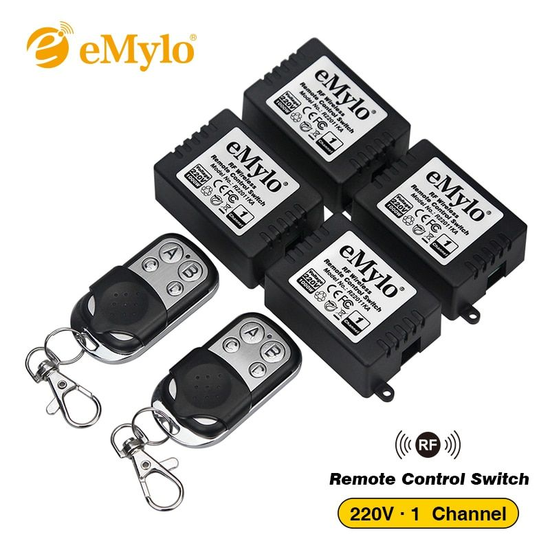 RF AC220V 1000W 2X 4-buttons Black-sliver Transmitter 4X 1 Channel Relays Smart Wireless Remote Control Light Switch 433Mhz