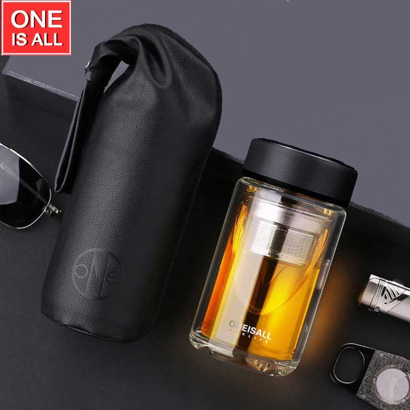 ONEISAll 320 ml Tasse à Thé En Verre Tasses Bouteille D'eau Tasse À Café Double paroi Borrosilicate Verre À Thé avec Passoire