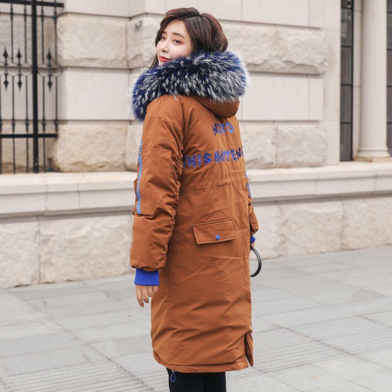 Lange Parkas Frauen Winter Mantel Großen Pelz Kragen Jacke Weibliche Warme Outwear Dünne Gepolsterte Baumwolle Jacke Mantel Frauen Kleidung
