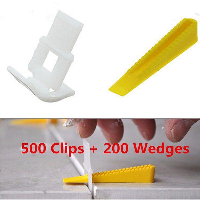 700 fliesen Nivellierung System-500 Clips + 200 Keile-Fliesen Leveler Abstandshalter Lippage Für Fliesen Werkzeuge