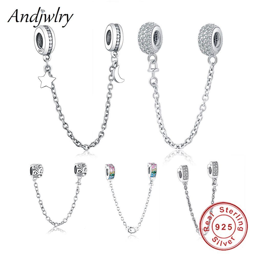 Fit Original bracelet à breloques Pandora 925 argent Sterling blanc Zircon chaîne de sécurité coeur charme perle bijoux à bricoler soi-même faisant Berloque