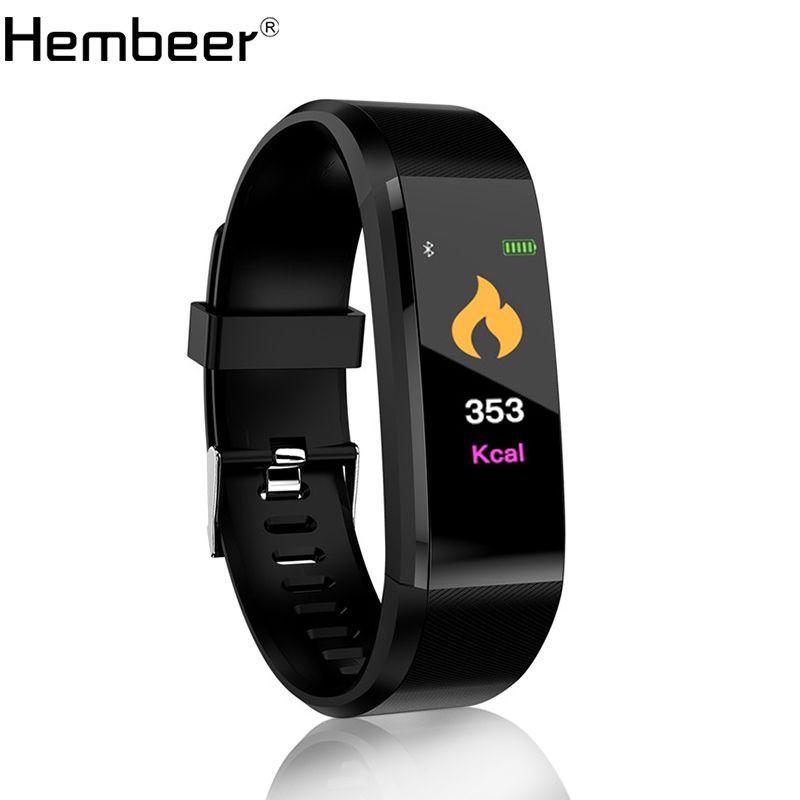 Hembeer New Smart Bracelet Men Women Heart Rate Monitor Blood Pressure Fitness Tracker Smartband Sport for ios android +BOX