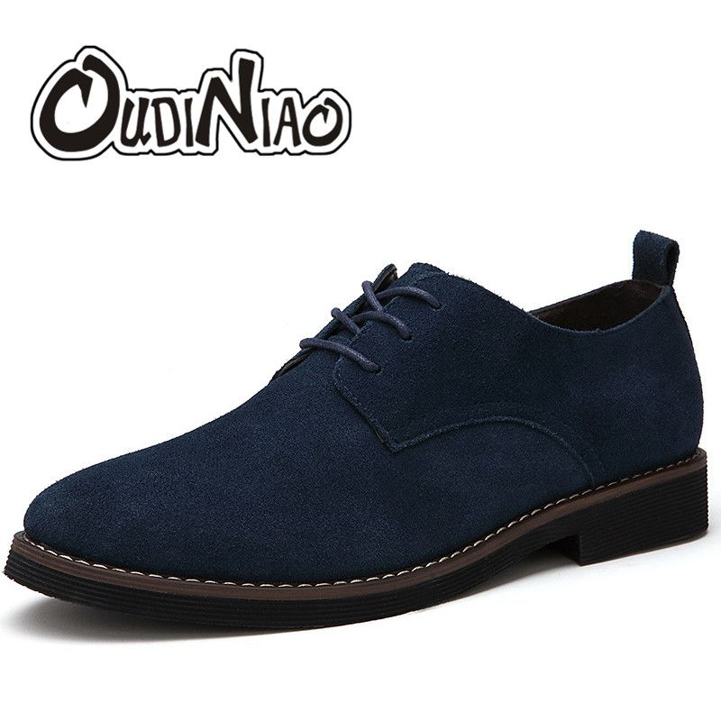 OUDINIAO Faux Suede Mens Shoes Casual Large Sizes Fashion 2018 British Shoes Men Casual Classic Lace Up Shoes For Male Footwear
