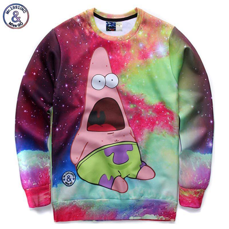 Mr.1991INC Autumn tops men/boy cartoon sweatshirts 3d print animation character funny galaxy hoodies pullover