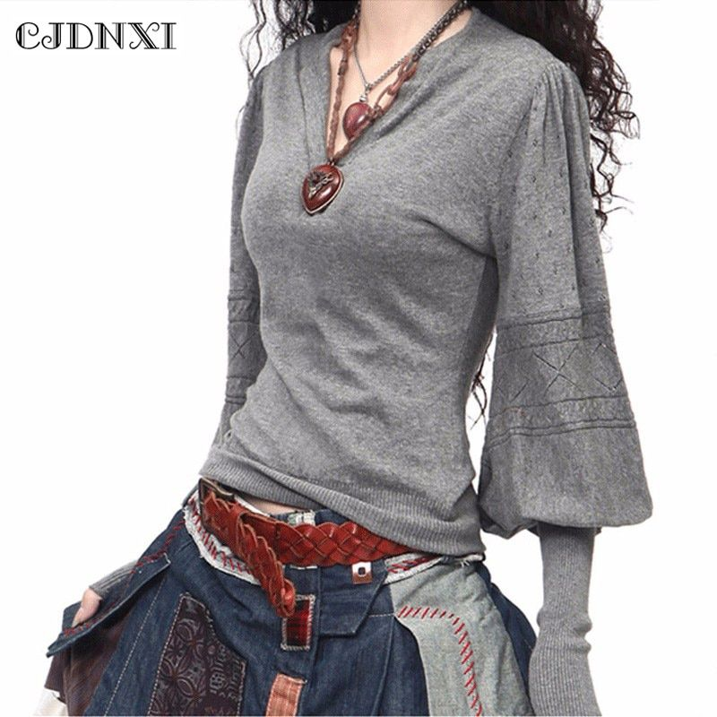Spring Women <font><b>Cashmere</b></font> Sweaters and Pullovers Casual Oversized Wool Sweater Winter Lantern Sleeve Pull Femme Gray Knitted Jumpers