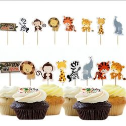 24pcs Party Safari Jungle Animal Cupcake Toppers Picks Birthday Party Decoration Kids Baby Shower Boy Favors  Cupcake Toppers