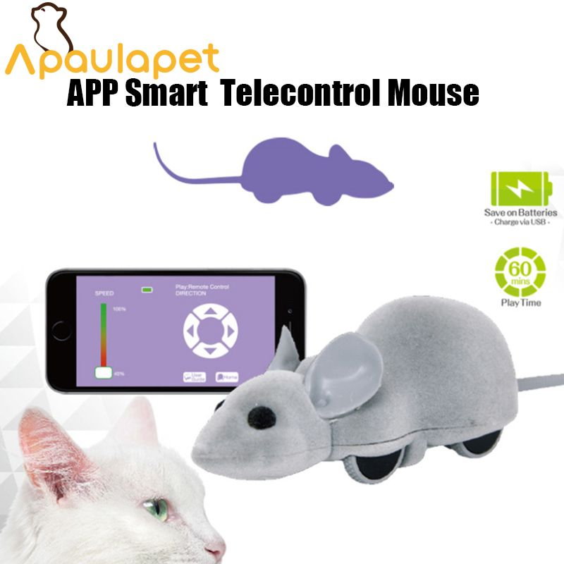 APAUALPET App Cat Mouse Toy Interactive Wireless Remote Control RC Pet Toy Connect With Bluetooth For Dog Cat Kid