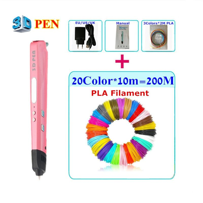 Creative 3D Printing Pens Intelligence Drawing 3D Printer Pen With PLA Filament 3D Best Gift For Kid Birthday Gift Free Shipping