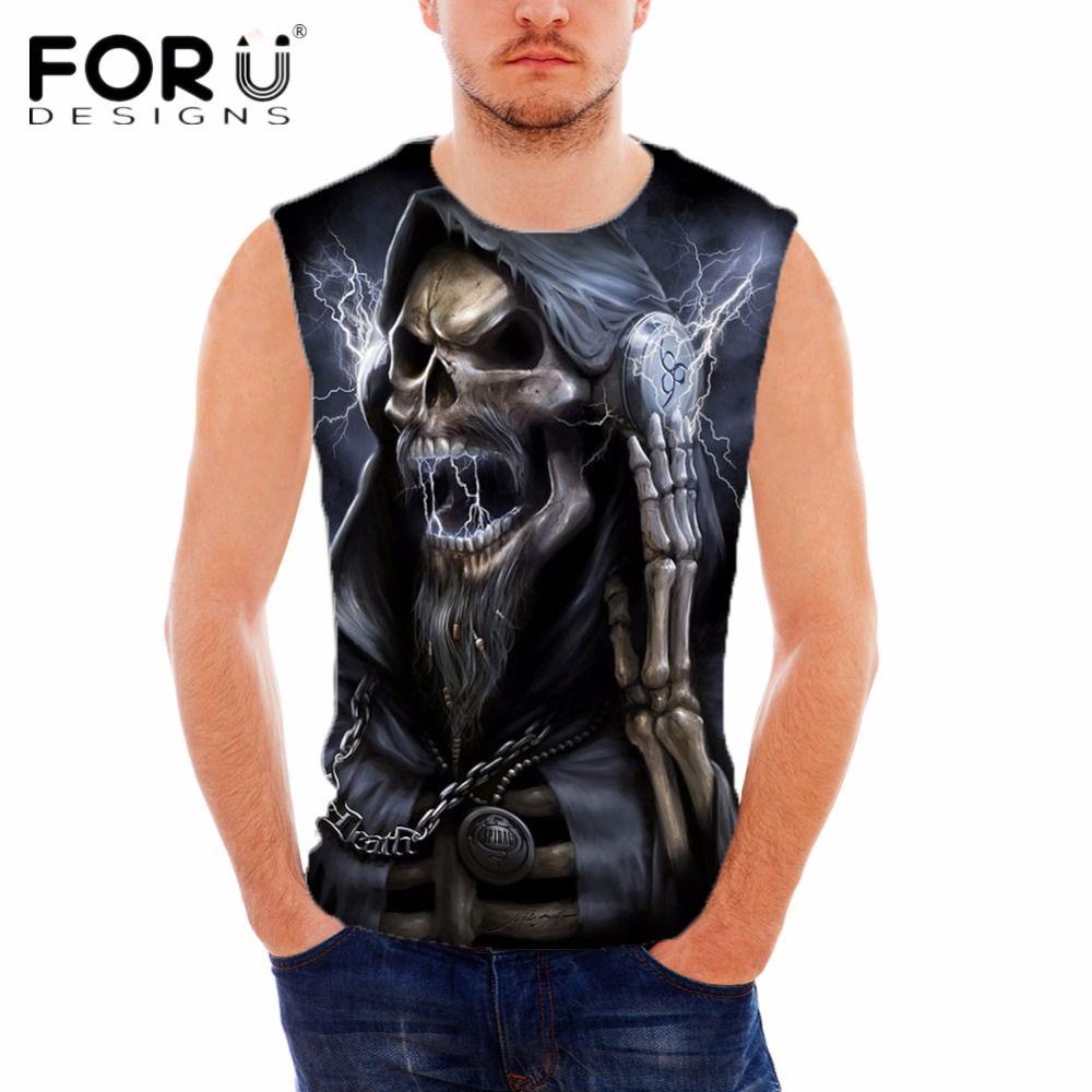 FORUDESIGNS Sommer Männer Sleeveless Tank Top 2018 Punk Schädel Printed Casual Westen Für Männer Bodybuilding Comfort Marke Kleidung