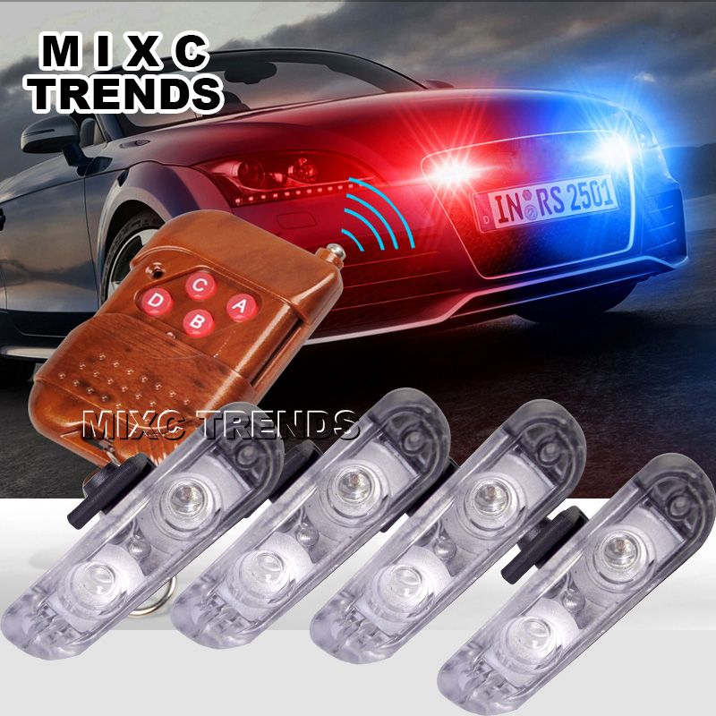 4pcs/lot 2LED Ambulance Police light 3Mode controller Car Truck Light Flashing Firemen Lights DC 12V led Warning light