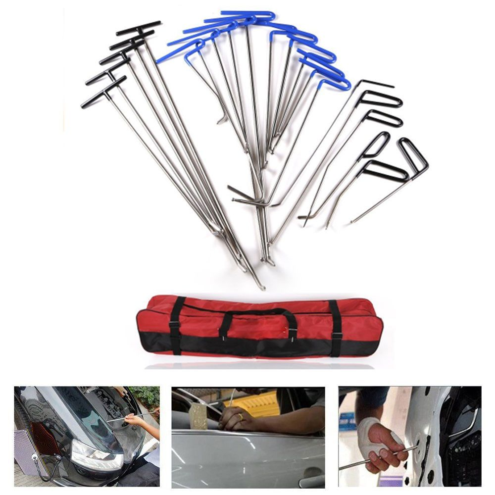 PDR Kits Paintless Dent PDR Haken Push Stangen Für Dent Removal Auto-einbuchtung Reparatur Hagelschäden Reparatur