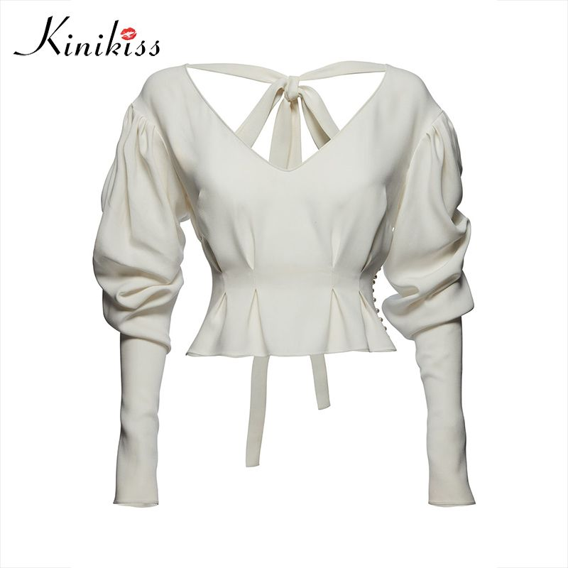 Kinikiss женская летняя блузка Appare фонарь рукав белая рубашка из бисера на шнуровке спинки 2017 Лето женщин Ультрамодный Сексуальная Блузка