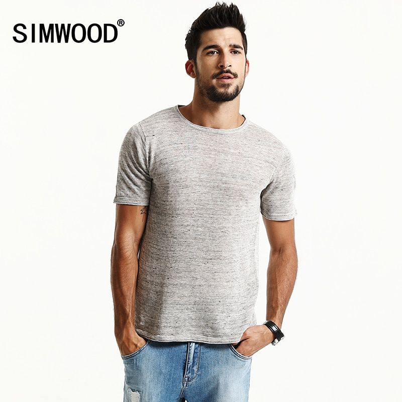 SIMWOOD Brand New Summer Short Sleeve T shirts Men 2018 100% Pure Linen Fashion Tees Plus Size O neck Clothing TD1171