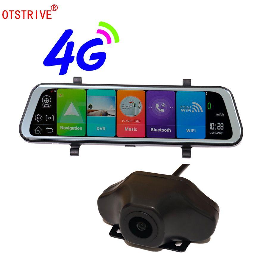 Otstrive 10 zoll ADAS WiFi Bluetooth Android 8.1 GPS Dual Lens DVR Full HD 1080 P 4G SIM Netzwerk Video recorder Rückspiegel