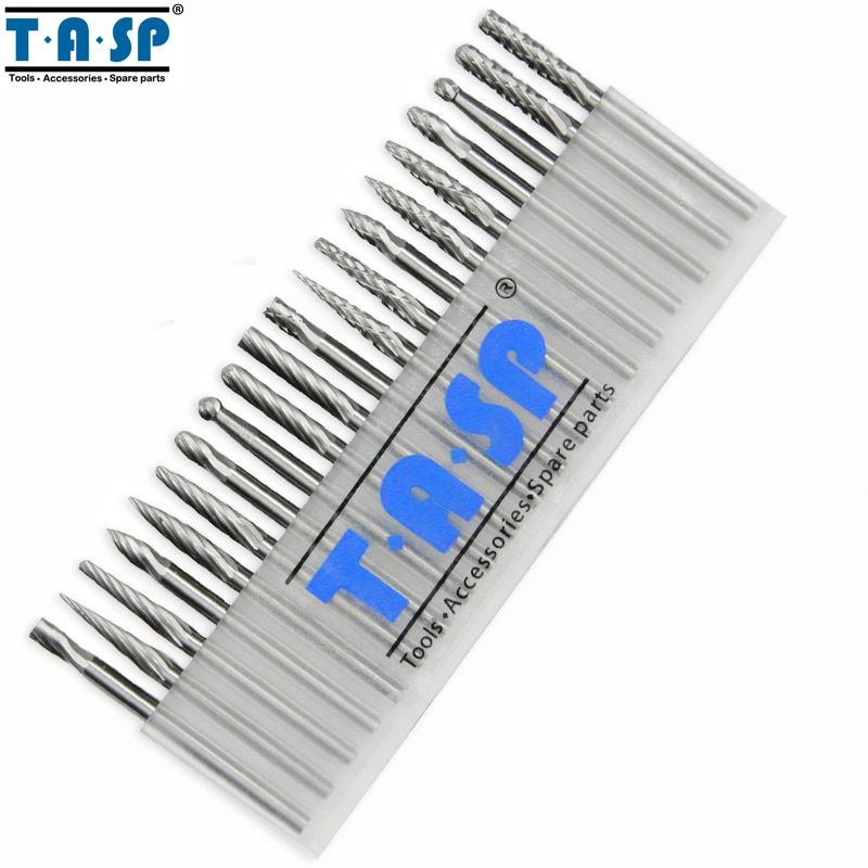 TASP 20PC 3mm Shank Tungsten Carbide Rotary Burr Set Engraving Milling Cutter Rotary Tool Accessories
