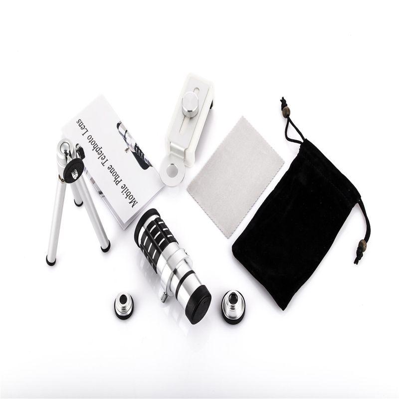 Universal 12X Zoom Mobile Phone Lens 4 in 1 lenses for iPhone 6S 6 plus Samsung S7 S6 edge Smartphones Telescope Camera Lens