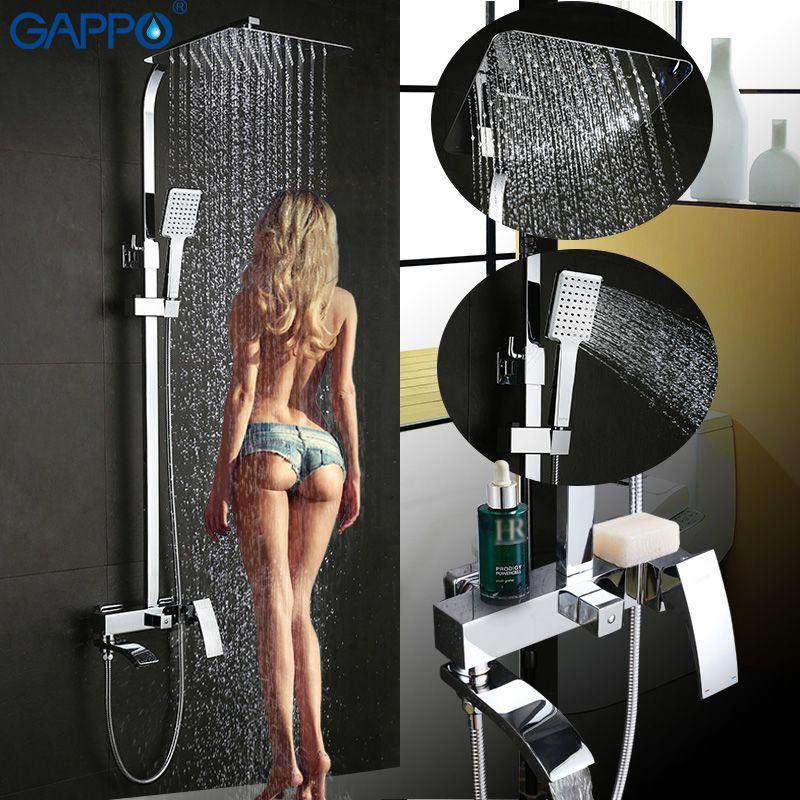 Gappo ванна кран Настенные Для ванной комнаты смеситель для душа комплект Для ванной Душ коснитесь водопад из нержавеющей насадка для душа см...