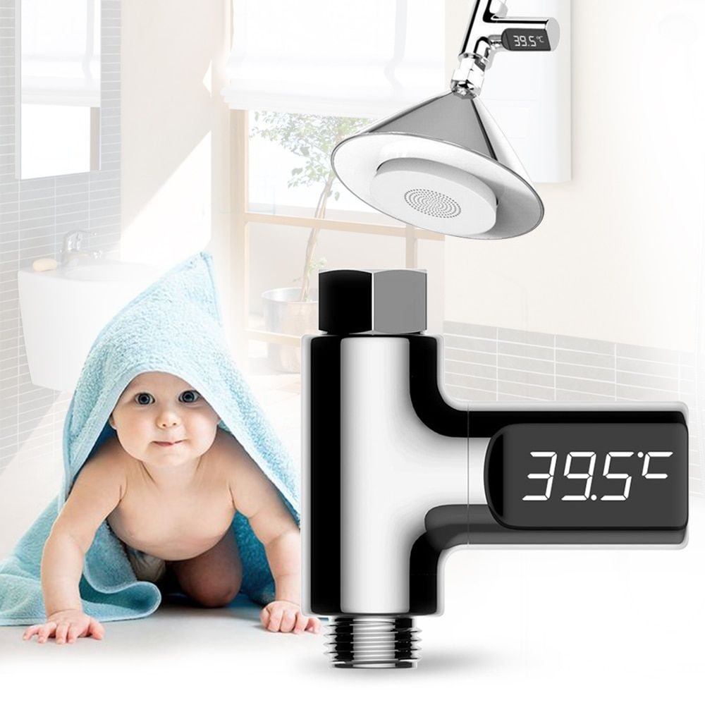 LED Display Home Water Temperature Monitor 5~85 Deg.C <font><b>Flow</b></font> Self-Generating Electricity Water Shower Thermometer for Baby Care
