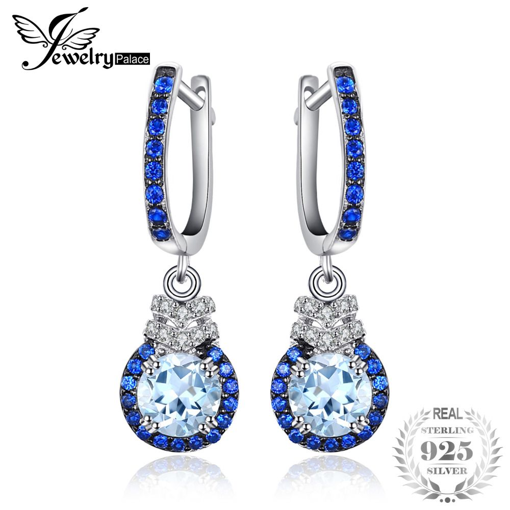 JewelryPalace Fashion 1.6ct Genuine Sky Blue Topaz Created Blue Spinel Drop Earrings 925 Sterling Silver Anniversary Gifts New