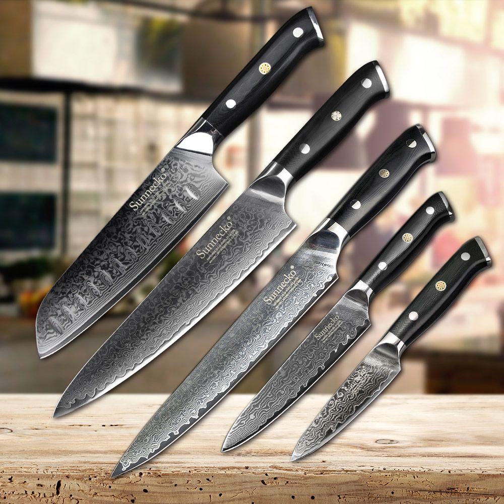 SUNNECKO 5 stücke Küche Messer Set Japanischen VG10 Damaskus Stahl Slicer Chef Schäl Utility Santoku Kinfe Kochen Messer G10 Griff