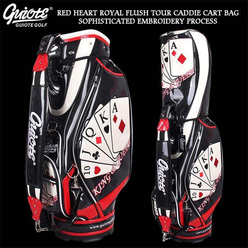 Poker ACE HOHE GERADE Golf-Caddy Warenkorb Tasche PU Leder Golf Tour Mitarbeiter Tasche 5-weg Kommen mit Regenhaube Für Männer Frauen