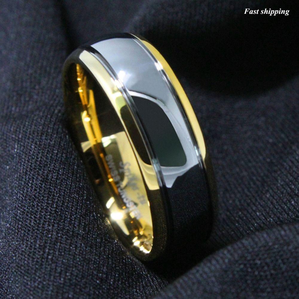 8mm Bande De Mariage De Carbure De Tungstène Or Argent Dôme Bronze Bague De Mariage Hommes Bijoux Taille 6-13