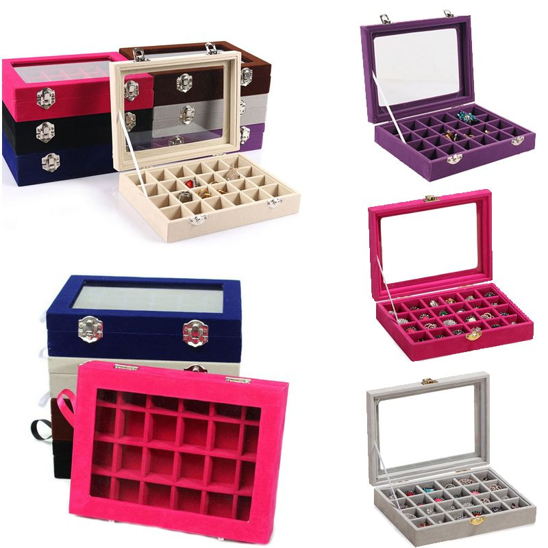 24 <font><b>Grids</b></font> Black Rose Red Velvet Jewelry Box Rings Earrings Necklaces Makeup Holder Case Organizer Women Jewelery Storage