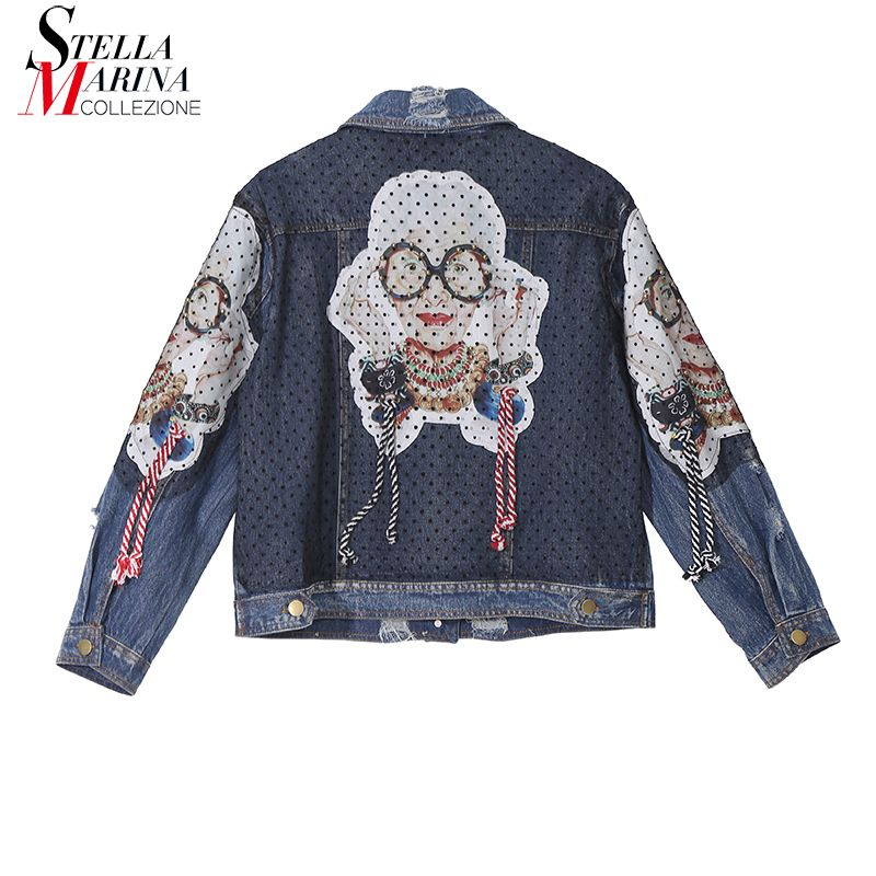 New 2018 Korean Style Women Autumn Vintage Denim Jacket Sleeve With Printed Patch & String Girls Stylish Unique Wear Jacket 3769