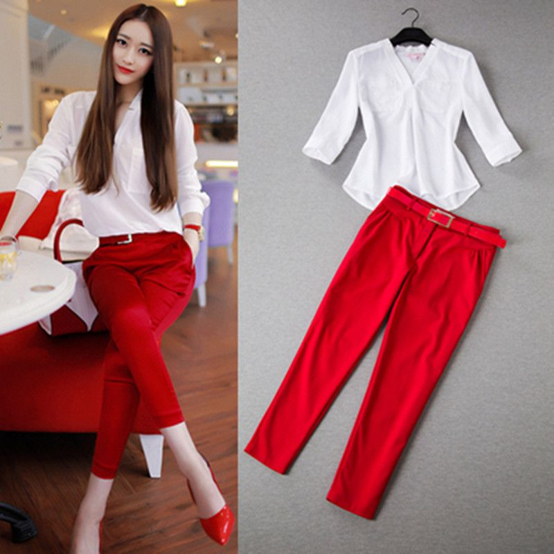2017 New Women Summer Suits Blouse shirt Two-piece suit brands loose V-Neck chiffon shirt tight ankle pants women sets with Belt