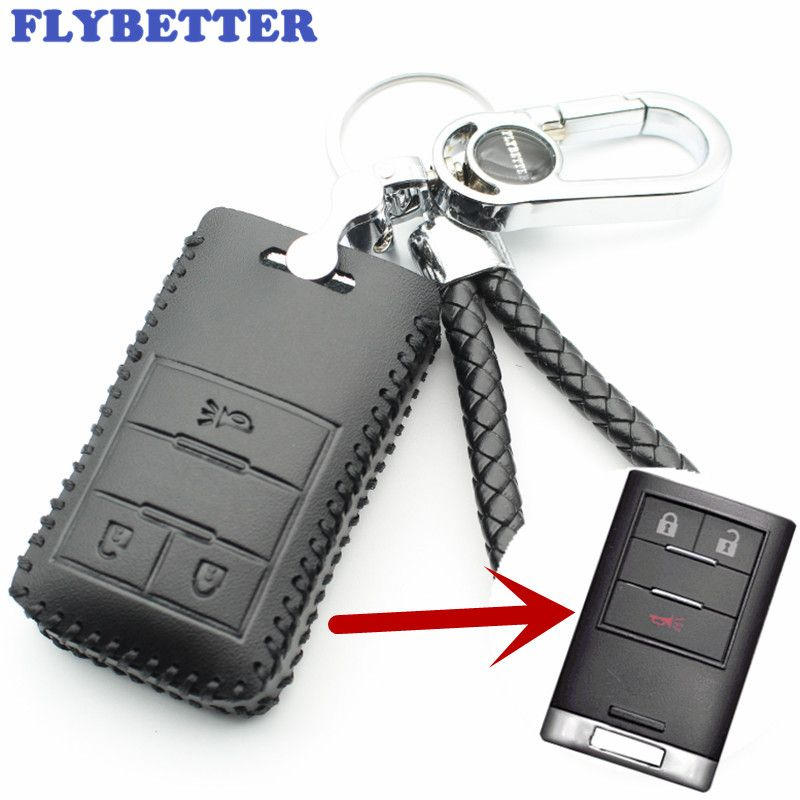 FLYBETTER Genuine Leather 3Button Smart Key Case Cover For Chevrolet New Captiva/Malibu/Trax Car Styling (B)  L1992