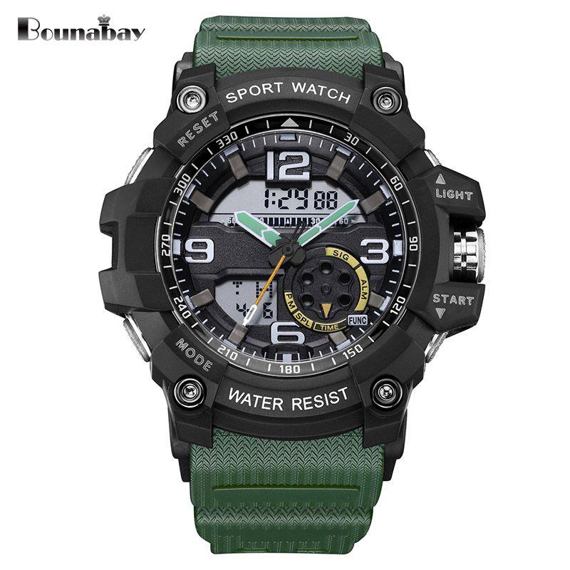 BOUNABAY men sports del reloj análogo Relojes Impermeables Relojes de Hombre Reloj de Pulsera deporte Militar del ejército al aire libre auto tt