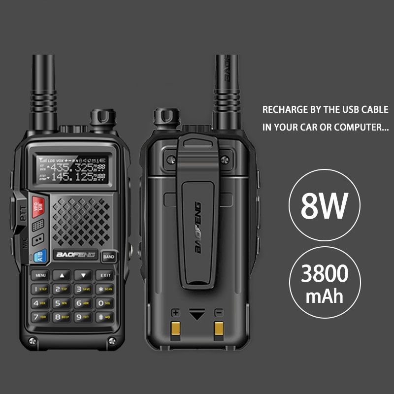 2018 original BAOFENG BF-UVB3 PLUS 8W High Power UHF/VHF Dual Band 10KM Long Range Walkie Talkie 3800mAh Battery Handheld Radio